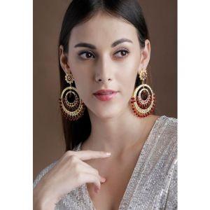 Rubans 22K Gold-Plated & Maroon Classic Drop Earrings