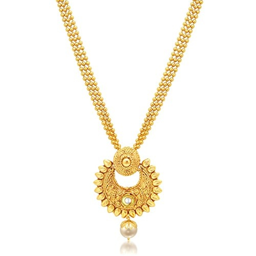 Sukkhi Pleasing Pearl Gold Plated Wedding Jewellery Necklace Set