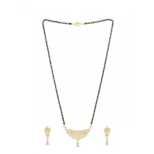 Eternal aadita Gold-Plated Black & White AD-Studded & Beaded Mangalsutra With Earrings