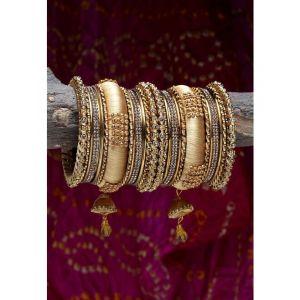 Shining Diva Set Of 18 Gold-Plated & Beige Stone-Studded Antique Bangles