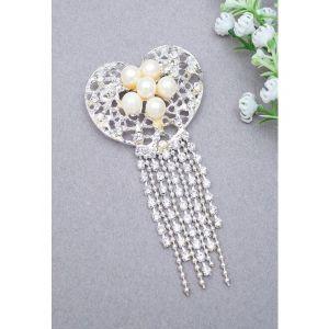 Golden Peacock Women Silver-Toned & Off-White Heart-Shaped & Tasselled Brooch