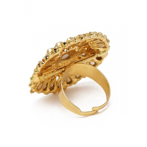 Zaveri Pearls Gold-Plated Stone Studded Traditional Adjustable Finger Ring