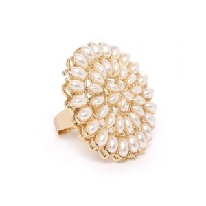 Zaveri Pearls Off-White Gold-Plated Beaded Circular Adjustable Finger Ring