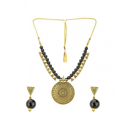 Jewels Galaxy Traditional Beads Contemporary Copper Brilliant Necklace Set for Women/Girls