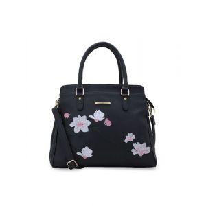 Lapis O Lupo Black Self Design Handheld Bag