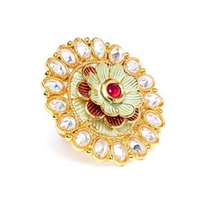 PANASH Gold-Plated Green & Red Handpainted Kundan Stones-Studded Cocktail Ring for Women & Girls