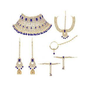Peora 18K Gold Plated Jodha Akbar Choker Necklace Bridal Ethnic Indian Jewellery Set Women