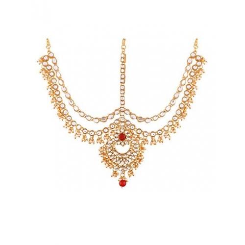 I Jewels Gold Plated Traditional Kundan & Pearl Matha Patti/Maang Tikka for Women (T2014M)