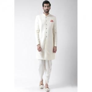 KISAH Men Off White Silk Self-Design Sherwani with Dhoti Pants