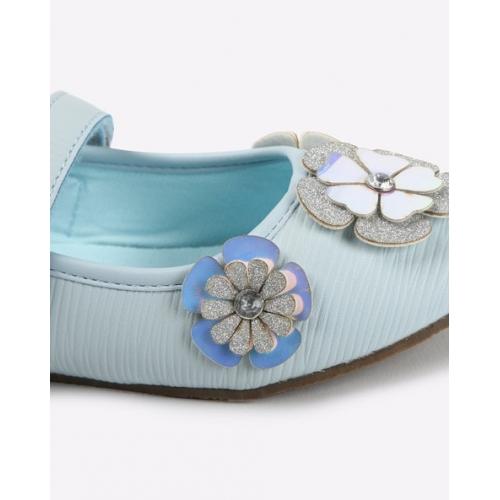 UNITED COLORS OF BENETTON Light Blue Floral Embellished Flat Shoes