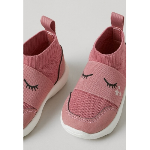 H&M Unisex Kids Pink Printed Mid-Top Fully-fashioned Trainers