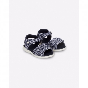 Mothercare Navy Blue Gingham Sandals with Velcro Fastening