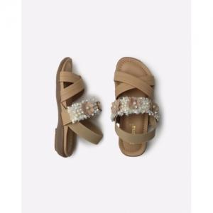 kittens Beige Pearl Embellished Slingback Flat Sandals