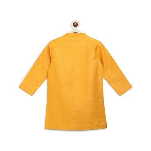 Tiber Taber Yellow Silk Full Sleeves Embroidered Kurta With Dhoti