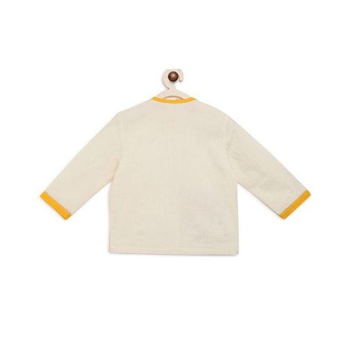 Tiber Taber White Full Sleeves Embroidered Camel Kurta & Dhoti Set