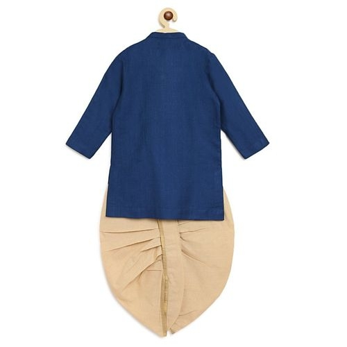 Tiber Taber Blue Cotton Full Sleeves Embroidery Yoke Detailing Kurta & Dhoti Set