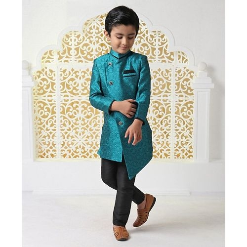 Babyhug Sea Green Polyester Full Sleeves Sherwani With Pocket Square Floral Design