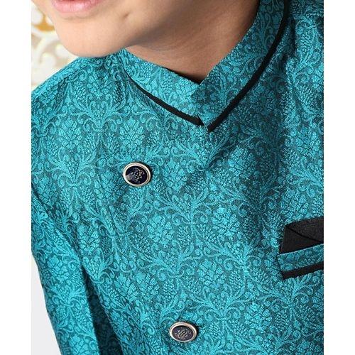 Babyhug Sea Green Polyester Full Sleeves Sherwani With Pocket Square Floral Design