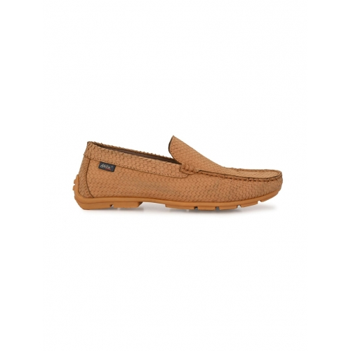 Hitz tan leather slip on loafers
