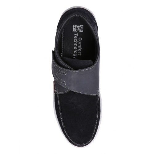 Red Chief Black Leather Casual Slip On Shoes