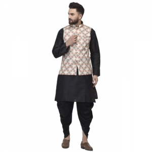 black solid dhoti kurta set with beige printed nehru jacket