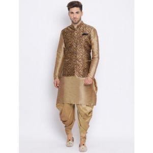 brown dhoti kurta set with brown printed nehru jacket