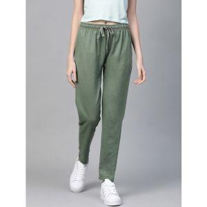 MAST & HARBOUR Solid Women Olive Track Pants