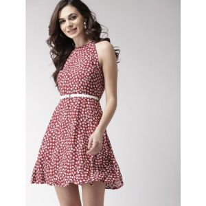 MAST & HARBOUR Women Fit and Flare Maroon Dress