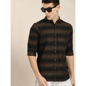 Moda Rapido Men Striped Casual Black Shirt