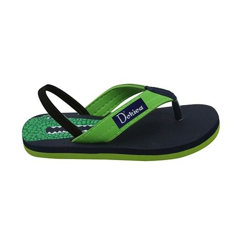 D'chica Bro Crocodile Print Flip Flops - Green & Navy Blue