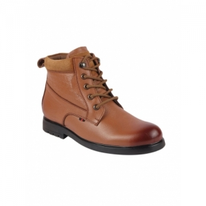 FAUSTO Tan Leather Lace Up Boots