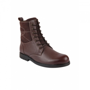 FAUSTO Brown Leather Lace Up Boots