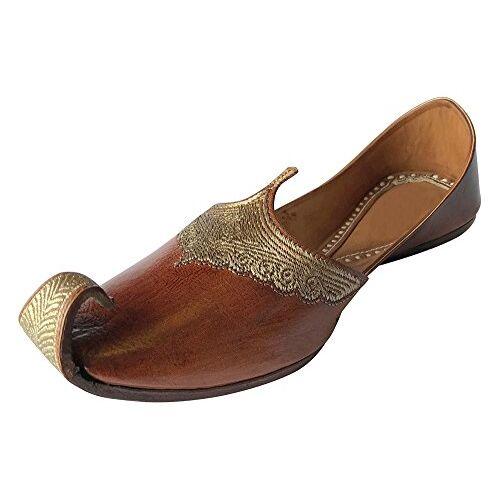 Step n Style Indian Leather Men Shoes Punjabi Jutti Ethnic Aladdin Khussa Flip-Flops