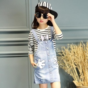 H Brazil Light Blue Denim Washed Dungaree Dress