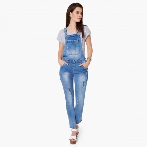 5959c5336 Buy MAX Blue Distressed Denim Dungarees online