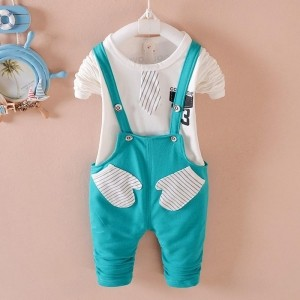 YTS Sky Blue Cotton Solid Dungaree