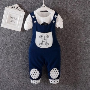 YTS Navy Blue Printed Dungaree