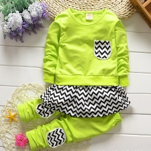 Aww Hunnie Green Cotton Printed Top & Bottom Set