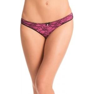 PrettySecrets Pink & Black Polyester & Spandex Lace Panty
