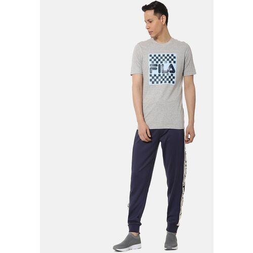 FILA Men Grey Melange Printed Round Neck T-shirt