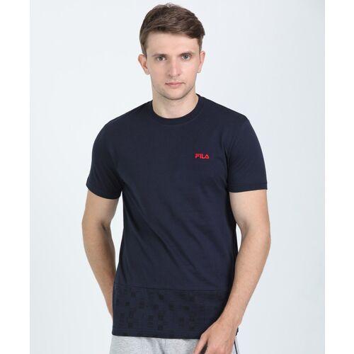 FILA Checkered Men Round Neck Dark Blue T-Shirt