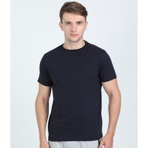 FILA Solid Men Round Neck Dark Blue T-Shirt