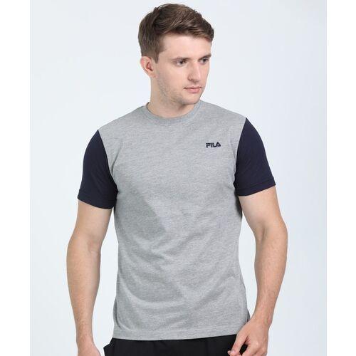FILA Color Block Men Round Neck Dark Blue, Grey T-Shirt