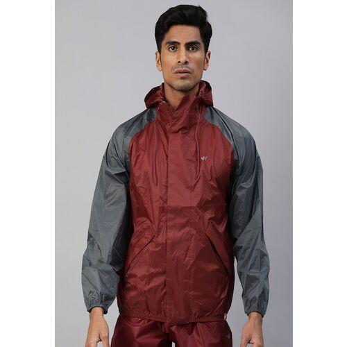 Wildcraft Men Maroon Solid Hooded HypaDry Rain Jacket