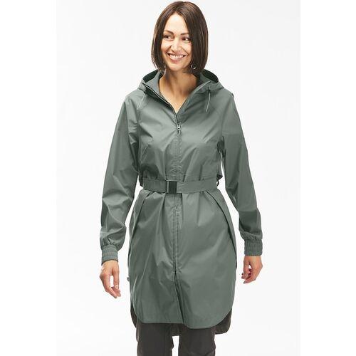 Quechua By Decathlon Women Olive-Green Solid Country Walking Waterproof Longline Raincut Jacket