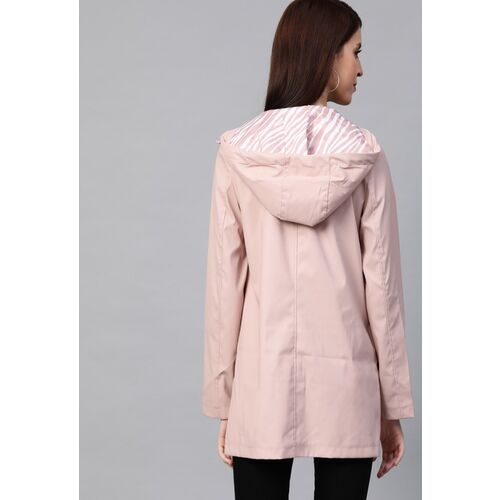 DOROTHY PERKINS Women Pink Solid Hooded Rain Jacket