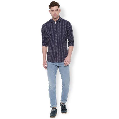 Van Heusen navy blue striped casual shirt