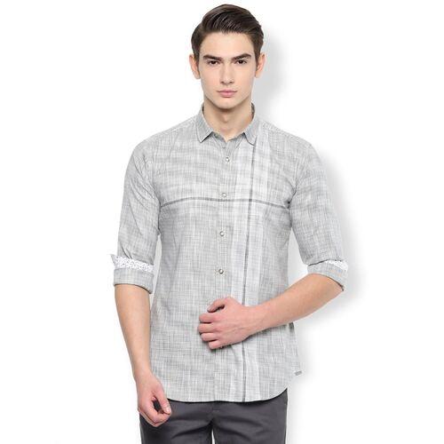 Van Heusen grey checkered casual shirt