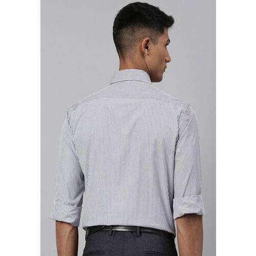 Van Heusen Men White & Blue Custom Fit Striped Formal Shirt