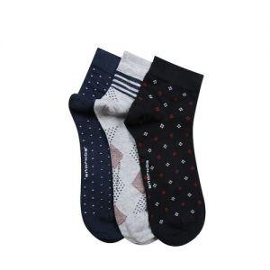 Bonjour Men Pack of 3 Assorted Patterned Ankle-Length Socks